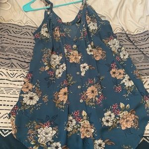 Blue Tank Top with Flowers